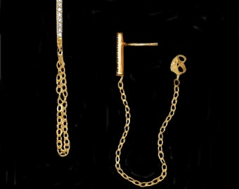 Bar Chain Earrings with CZ's in Gold or Silver
