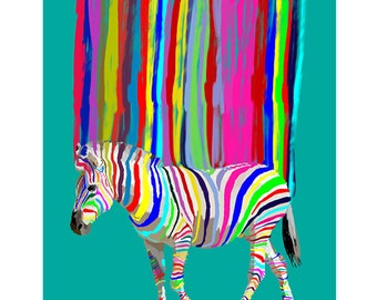 Zebra Print Painting Large Print Instant Download Poster Printable  Downloadable, Nursery decor, home decor, personalized, christmas gift