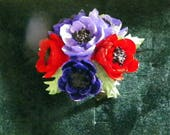 Gorgeous Vintage Anemone Posy Brooch Handmade in Wales-Red, Blue & Violet Lapel Pin, Costume Accessory