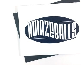 Amazeballs Card, Celebration Card, Congratulations Card for Him, Card for Boyfriend, Engagement Card, Blank Card, Single Card, Funny Card