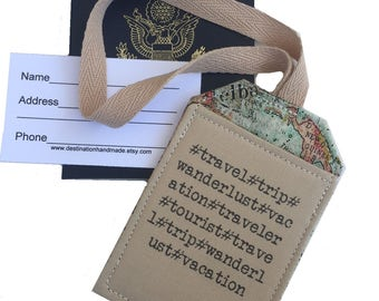 Luggage Tag Travel Hashtags,  identification, bag tag, security luggage tag, available in Blue or Khaki