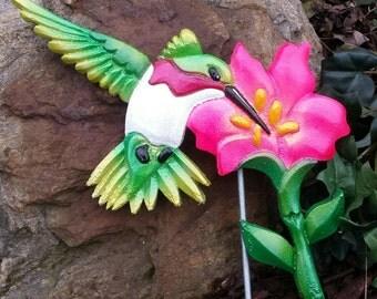 Hummingbird Garden Art, Gifts For Her, Garden Stakes, Garden Statues, Bird  Decor