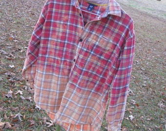 Distressed flannel plaid shirt GAP - recycled bleached dipped unique - vintage worn style - Size XL 12 (youth / unisex) (#S57)