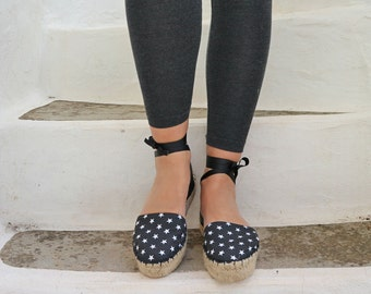 Espadrille Sandals. Star Print Espadrilles Black and White. Summer Leather and Fabric Shoes. Women's Sandals. Greek Sandals.