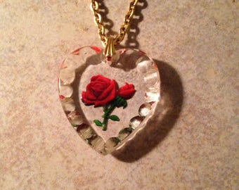 Goldtone Red Rose Heart Pendant Necklace