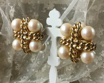 Very Large Chanel Styled Faux Pearl and Goldtone Chain Earrings Clip On Unsigned