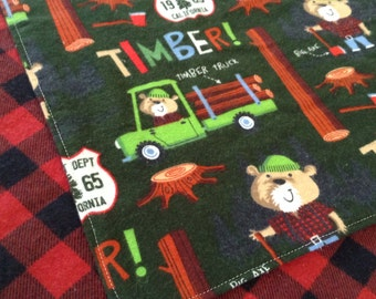 40 inch Square Double Layer Flannel Swaddler Blanket, lumberjacks ready to ship,
