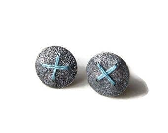 Oxidised Silver round disc earrings studs stitched with blue thread