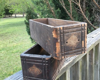 2 Vintage Wooden Sewing Machine Cabinet Drawers--Wonderful Storage Boxes-Wood Cabinet Drawers--Shabby Cottage Farmhouse Style