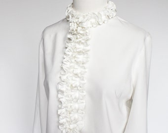 70's White Blouse with Ruffle / Tuxedo Blouse / Ruffle Front Blouse / Victorian / Small