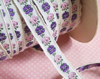 Vintage Pink Purple Floral Jacquard Ribbon Trim 3 yards