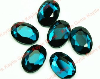 Mirror Glass Cabochon cab 18x13 Oval Faceted Table Cut-London Blue- 4pcs