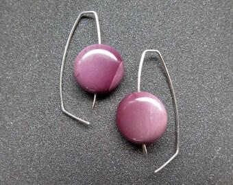 purple earrings. mookaite jewelry. sterling silver hoops. splurge