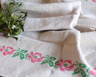 D 116: handloomed linen antique charming TOWEL napkin, LAUNDERED,리넨, decoration; tablerunner