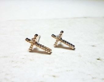 Rose Gold Cross Stud Earrings, Cross Earrings