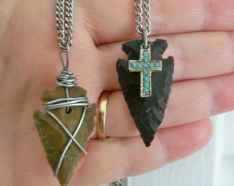 2 Arrowhead pendant necklaces - Silvertone chains - Cross & Wire wrap - Unisex - Boho style - One of a Kind - bycat