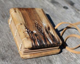 Coptic stitched Rustic wood journal Maedow