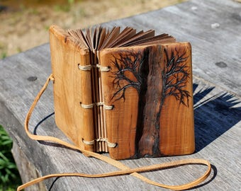 Rustic wood journal with tree of life small wedding guest book stitched journal