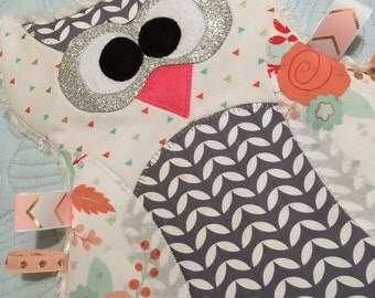 """Personal Use PDF Pattern for """"Maggie the Taggie Owl"""" Tag Blanket"""