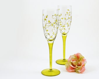 Champagne flutes - Set of 2 wine glasses - Liane collection - Green with white flowers