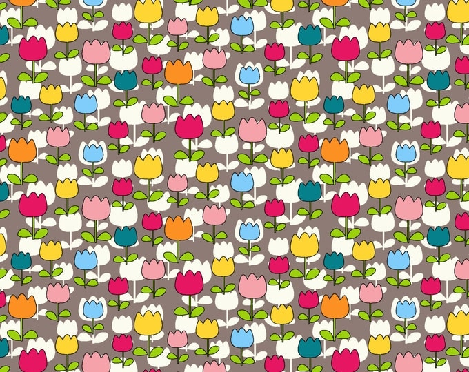 Tulip Patch Fabric by Ellen Medlock - 1 Yard CharmVille Cotton Quilt Sewing Floral Fabric (#926B)