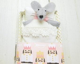 Stocking stuffer stuff animal felt mouse kids gift mouse in matchbox children girl gift miniature nutcracker Christmas birthday pink gold