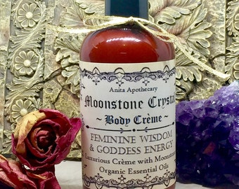 Moonstone Body Creme~Luxurious body lotion with Moonstone crystals~Witch lotion, witchcraft, moon goodess oil magick, Goddess, Pagan, witch