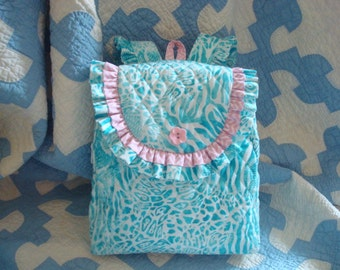 Child's Backpack in The Print  with double ruffle and coordinating accents