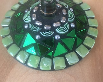 Hand made mosaic wine glass. Shades of Green.