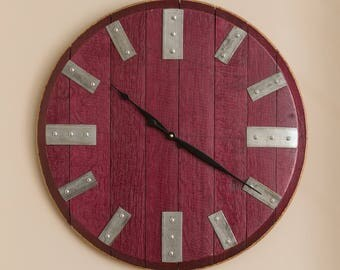 Wine Barrel Head Clock