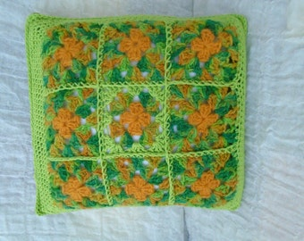 Green orange Irish granny squares cushion cover crochet squares OOAK