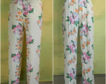 S 6 Vintage 90s Ralph Lauren Rayon Pants Floral Print Hawaii Beach Pleated Matching Belt Cruise