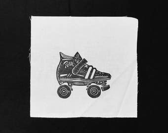 ON SALE NOW!!! Sew-On Patch - Block Printed - Roller Derby Skate