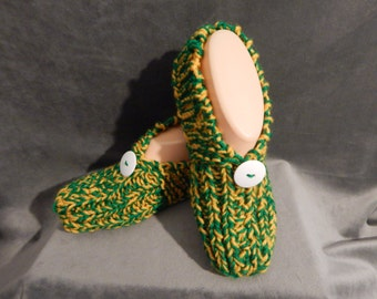 Women's Knitted  Slippers Green and Gold with White Button Size  6, 7, or 8