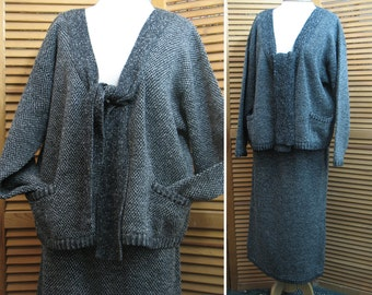 Vintage Adrienne Vittadini 2 Piece Charcoal Tweed Cardigan Sweater and Skirt Set/ Sweater and Skirt Knits/ Charcoal Tweed Knits
