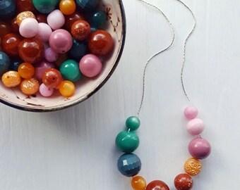NECKLACE CLEARANCE tailfeathers - necklace - vintage lucite - jewel tone color block necklace - pink orange teal