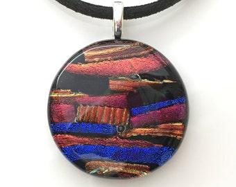 Round Blue and Coppery Red Fused Dichroic Glass Pendant Necklace with a Silver Plated Leaf Shaped Bail - Handmade Jewellery - EP 542