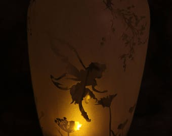 Fairy Garden Frosted etched Recycled Candle jar solar light with lid