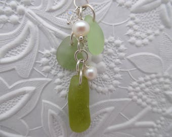 Green Sea Glass Necklace Beach Seaglass Jewelry Pendant