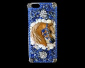 Iphone 6 Hard Case with Golden Arabian Horse, Mother of Pearl, Genuine Lapis  and Crystal Rhinestones