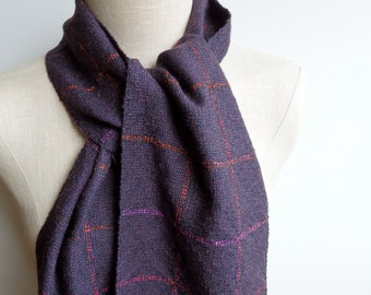 Handwoven Scarf in Ebony, Aubergine and Multicolor Merino Wool and Silk, Alpaca and Silk and Baby Alpaca and Silk