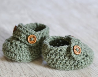 Newborn Sage Green Boys Crochet Loafer Baby Shoes