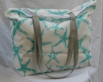 Starfish- Ocean Blue and White-Zippered Beach Tote-Overnight Bag-2-Interior Pockets Water and Mildew Resistant Interior