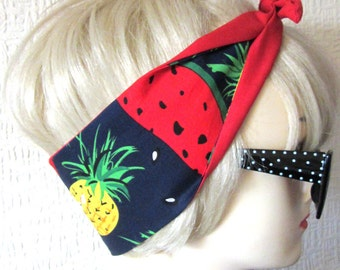 Pineapple Watermelon Print Rockabilly Hair Tie Head Scarf by Dolly Cool Fruit