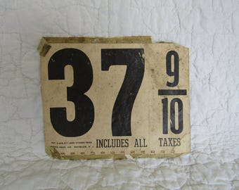 Vintage 1952 Gas Price Sign 2 sided with Patent #
