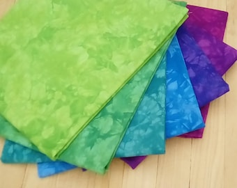 DESTASH, 7 Yards of Hand Dyed Fabric, JELLY BEANS Green, Blue, and Purple Bundle