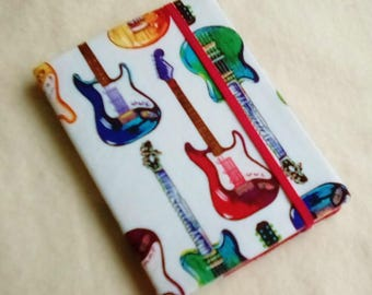 Fabric Covered Pocket Memo Book, GUITARS, Refillable Mini Composition Notebook Cover in Colorful Electric Guitars