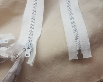 "Robin 17-1/2"" teeth 5mmWhite Metal Separating Zipper"