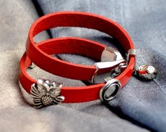 Owl Bracelet.  Multi Wrap Leather Bracelet.  Red Leather Unisex Silver Tone Sliders Bracelet.  Women's, Teen Bracelet.