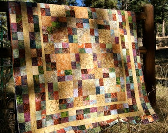 SALE Quilt Autumn Fall Batiks Lap Throw Gold Green Scrappy Patchwork Neutral Thanksgiving Jewel Tones Masculine Modern